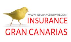 Yellow canary on a perch advertising insurance in the Canary Islands