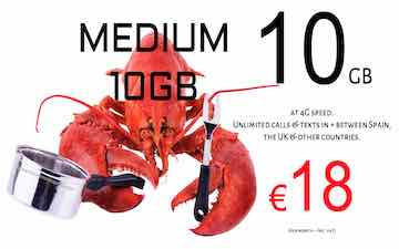 lobster sim and data pack 10gb in Spain and the UK