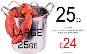 Lobster mobile large sim and data pack Spain and UK