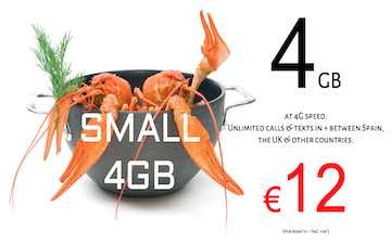 Lobster mobile small 4gb sim and data pack in Spain and UK