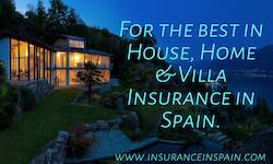 House at night with blue haze and info on House home and villa insurance Costa Blanca and Spain.